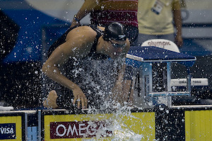 Ben Wildman-Tobriner prepares for the 50 meter freestyle semi-final at the 2008 olympic trials.