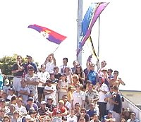 The Yugoslavian fans stood for the entire match to cheer their team to victory in the UPS Cup.