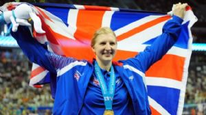 Gold medalist Rebecca Adlington of Great Britain poses for photo after the Women's 800m Freestyle Final during Day fifteen of the 14th FINA World Championships at the Oriental Sports Center.