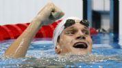 Yannick Agnel (FRA) reacts after winning the men's 200m freestyle finals during the London 2012 Olympic Games at Aquatics Centre.