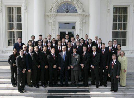 Auburn men with President Bush