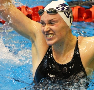 Sophie Batchelor celebrates her victory under the world championship qualifying time in the 200m backstroke at the State NZ Short Course Championships in Wellington tonight.