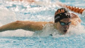 Karlee Bispo competes in the women's 200 meter individual medley final during the Austin Grand Prix at the Texas Swimming Center.