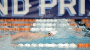 Ryan Cochrane competes in the men's 400 meter freestyle final during the Austin Grand Prix at the Texas Swimming Center.