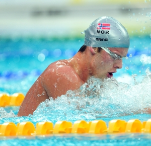 Beijing, CHINA; Silver medalist Alexander Dale Oen of Norway swims during the Men's 100m Breaststroke at the National Aquatics Center during the 2008 Beijing Olympics.