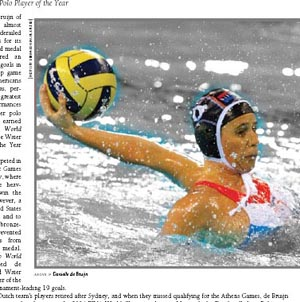 Danielle de Bruijn named 2008 Water Polo Female Player of the Year.