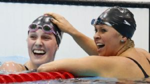 USA swimmer Missy Franklin (left) celebrates with Elizabeth Beisel (right) after the women's 200m backstroke final during the London 2012 Olympic Games at the Aquatics Centre. Franklin won the gold medal setting a new world record at 2:04.06. Beisel won the bronze.