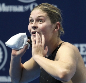 December 17, 2011; Atlanta, GA, USA; Lotte Friis reacts to almost setting a world record in the 800m freestyle at the Duel in the Pool in the Georgia Tech Aquatics Center.