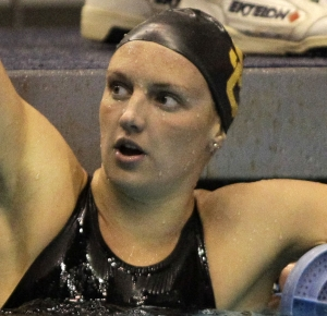 Katinka Hosszu of the University of Southern California Trojans reacts after winning the 400 yard individual medley relay final at the NCAA Womens Division I Championship at the James A Martin Aquatic Center.