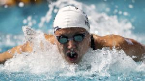 Katinka Hosszu swims in the women's 400m individual medley at the Duel in the Pool in the Georgia Tech Aquatics Center.