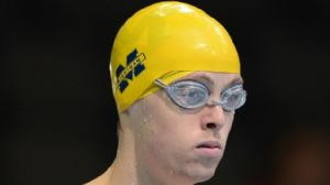 Connor Jaeger prior to competing in preliminaries of the mens 1500m freestyle in the 2012 U.S. Olympic swimming team trials at the CenturyLink Center.