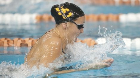 Dec 3 2011; Austin, TX, USA; Kasey Carlson of USC competes in the women's 200 yard breaststroke final during the Texas Invitational at the Texas Swimming Center. Mandatory Credit: Brendan Maloney-US PRESSWIRE
