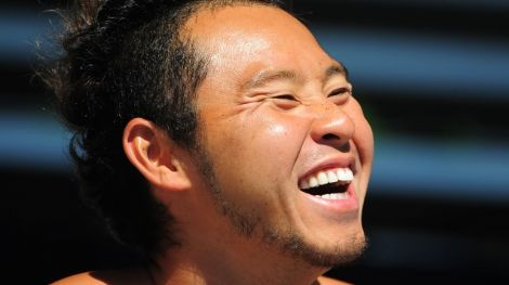 Kosuke Kitajima (JPN) smiles during the Santa Clara international grand prix at the George F. Haines International Swim Center.