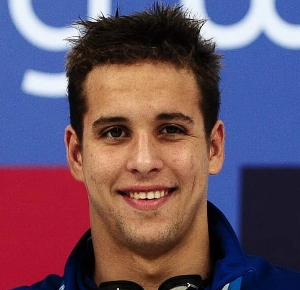 Chad Le Clos on the podium after the men's 200m butterfly at the 2011 FINA World Cup at the National Aquatics Center.