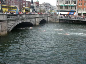 Crowd gathers at O'Connell Bridge during Liffey Swim