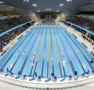 A general view of the pool during the British indoor championships at the London Aquatic Centre in preparation for the 2012 London Olympic Games.