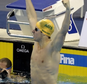 Shanghai, CHINA; James Magnussen (AUS) celebrates after winning the men's 100m freestyle final at the 14th FINA World Championships.