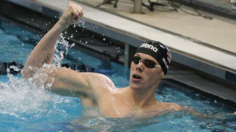 Matt McLean smokes time trial before Virginia, North Carolina dual meet.