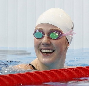 Missy Franklin (USA) after swimming in the women's 200m backstroke heat during the London 2012 Olympic Games at Aquatics Centre.
