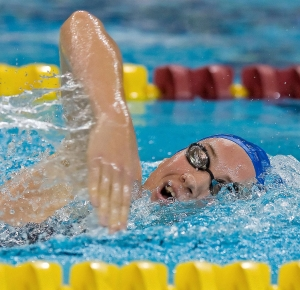 Camille Muffat (FRA) swims during the womens 800 meter freestyle finals in the Minneapolis grand prix at the University of Minnesota Aquatic Center. Muffat finished first with a time of 8:31.23.
