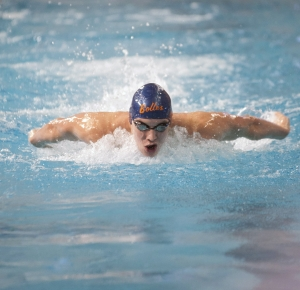 Ryan Murphy competes in the Men's 200 Yard Individual Medley final during the Speedo Short Course Junior National Championships at the Texas Swimming Center.