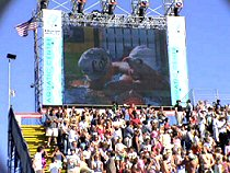Natalie Coughlin and Haley Cope on the big screen after finishing 1-2 in the 100 Back - 2004 Olympic Trials