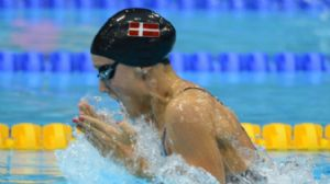 Rikke Pedersen (DEN) swims in the women's 200m breaststroke semifinal during the London 2012 Olympic Games at Aquatics Centre.