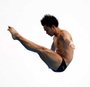 Shanghai, CHINA; Qiu Bo (CHN) during the men's 10m platform diving final at the 14th FINA World Championships.