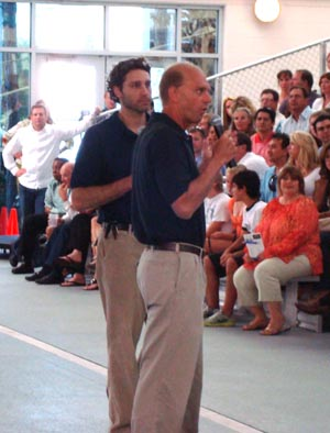 Rowdy Gaines (front) and Rob Butcher (back) at Daytona Beach fundraiser