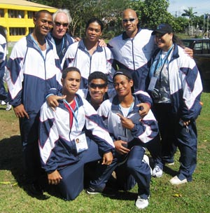 As team at opening of Athletes Village,V. Leatulevao, Bill Sakovich(Coach),CM Wei,R.Scanlan, Hana Faoa (Adm. Officer),btm row S.Sword, T Peters and L.Peters.