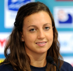 Shanghai, CHINA; Rebecca Soni during a press conference for the 14th FINA World Championships.