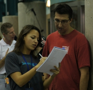 2012 CeraVe Scarlet's Tom Speedling with Swimming World intern Rachel Emodi