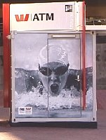 Susie Oneill on the side of an ATM.