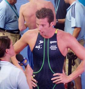 Grant Hackett interviewed after winning 800 free in Barcelona