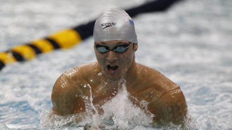 Marcus Titus swims in the final of the Men's 100 M Breaststroke during the 2011 USA Swimming National Championships at the Georgia Tech Aquatic Center.