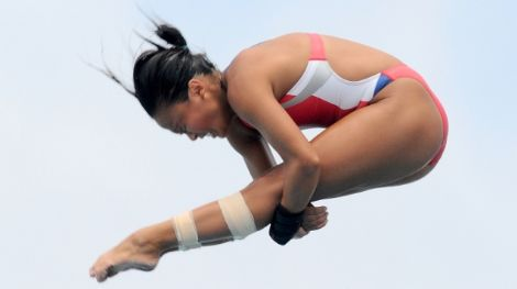 May 13, 2012; Fort Lauderdale, FL, USA;  Haley Ishimatsu (USA) dives in the womens platform finals of the AT&T USA Diving Grand Prix at the Hall Of Fame Aquatics Center. Mandatory Credit: Brad Barr-US PRESSWIRE