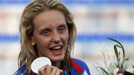 Jul 31 2009; Rome Italy; Fran Halsall (GBR) silver medal winner during the medal awarding ceremony for the womens 100m freestyle. The race was won by Britta Steffen in a world record time of 52.07, at the 13th Fina World Aquatics Championships held in the The Foro Italico Swimming Complex. Mandatory credit: Mitchell Gunn-US PRESSWIRE