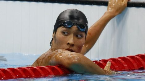 Aug 1, 2012; London, United Kingdom; Kosuke Hagino (JPN) after the men's 200m individual medley during the London 2012 Olympic Games at Aquatics Centre. Mandatory Credit: Rob Schumacher-USA TODAY Sports