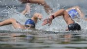 Aug 10, 2012; London, United Kingdom; Alex Meyer (USA, 20) swims in the men's open water 10km swim during the London 2012 Olympic Games at Hyde Park. Mandatory Credit: Andrew P. Scott-USA TODAY Sports