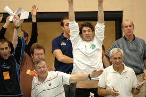 Michael Phelps and Mark Schubert cheer on Erik Vendt at 2008 Missouri Grand Prix