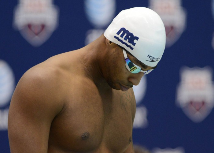 KNOXVILLE, TN - December 5, 2013 - Dax Hill prepares to swim in the 50 Yard Freestyle during the USA Swimming AT&T Winter National Championships at the Allan Jones Aquatic Center in Knoxville, Tennessee