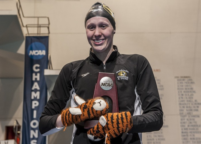 Dominique Bouchard places second in the 200 backstroke.