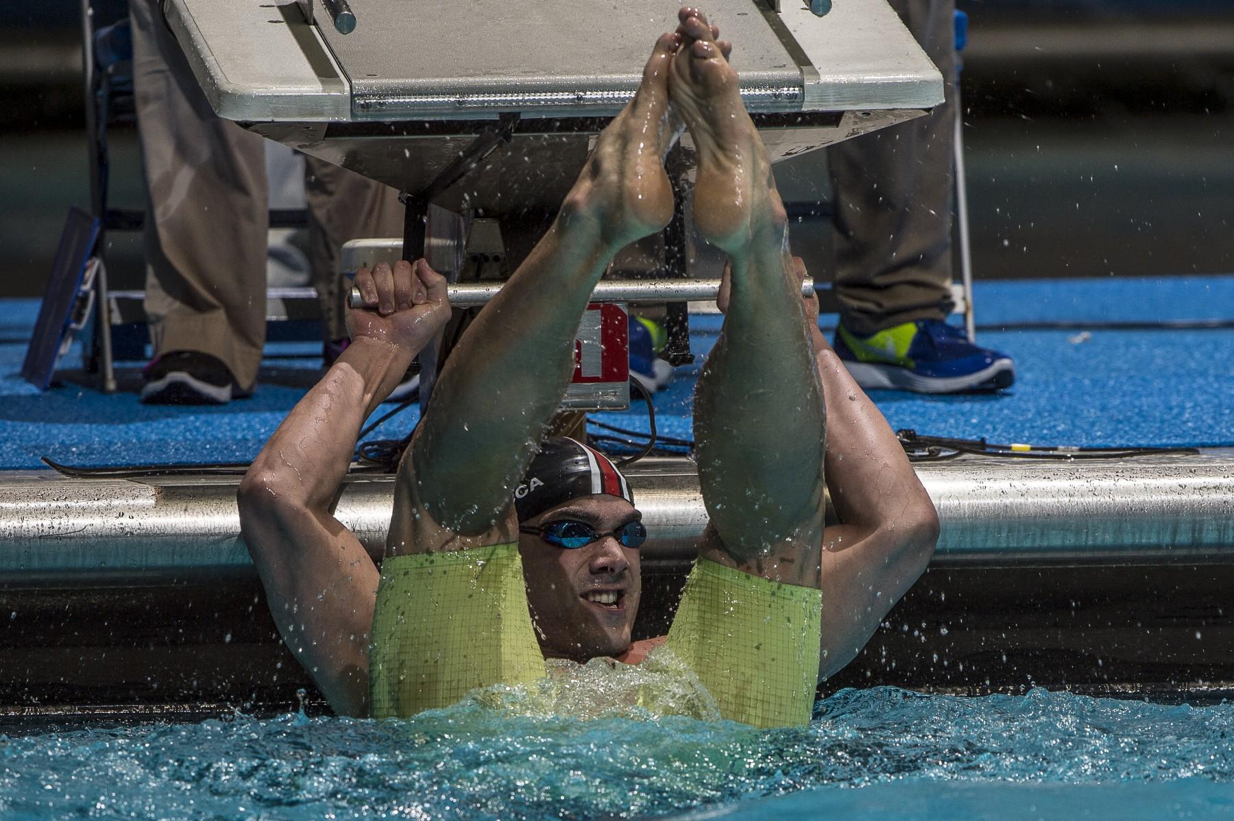 Joao De Lucca celebrates winning the 200 freestyle.