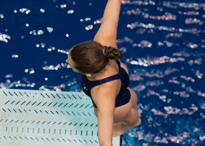 KNOXVILLE, TN - August 17, 2014: Maria Lohman during the 2014 USA Senior Diving National Event Finals at Allan Jones Aquatic Center in Knoxville, TN. Photo By Matthew S. DeMaria