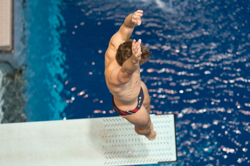 KNOXVILLE, TN - August 16, 2014: Michael Hixon during the 2014 USA Senior Diving National Event at Allan Jones Aquatic Center in Knoxville, TN. Photo By Matthew S. DeMaria