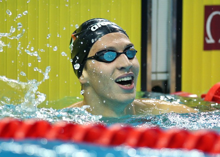 (140818) -- Nanjing, Aug 18,2014 (Xinhua) -- Nicolangelo di Fabio of Italy celebrates after the final of Men's 200m Freestyle of Nanjing 2014 Youth Olympic Games in Nanjing, capital of east China?s Jiangsu Province, on August.18,2014. Nicolangelo di FABIO won the gold medal. (Xinhua/Fei Maohua) (lyq)