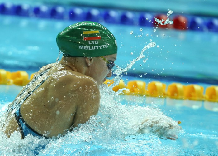 (140818) -- NANJING, Aug 18, 2014 (Xinhua) -- Ruta Meilutyte of Lithuania competes during the Women's 50m Breastsroke match at Nanjing 2014 Youth Olympic Games in Nanjing, capital of east China's Jiangsu Province, on Aug. 18, 2014.Ruta Meilutyte won the gold medal.(Xinhua/Yang Lei)(hhx)