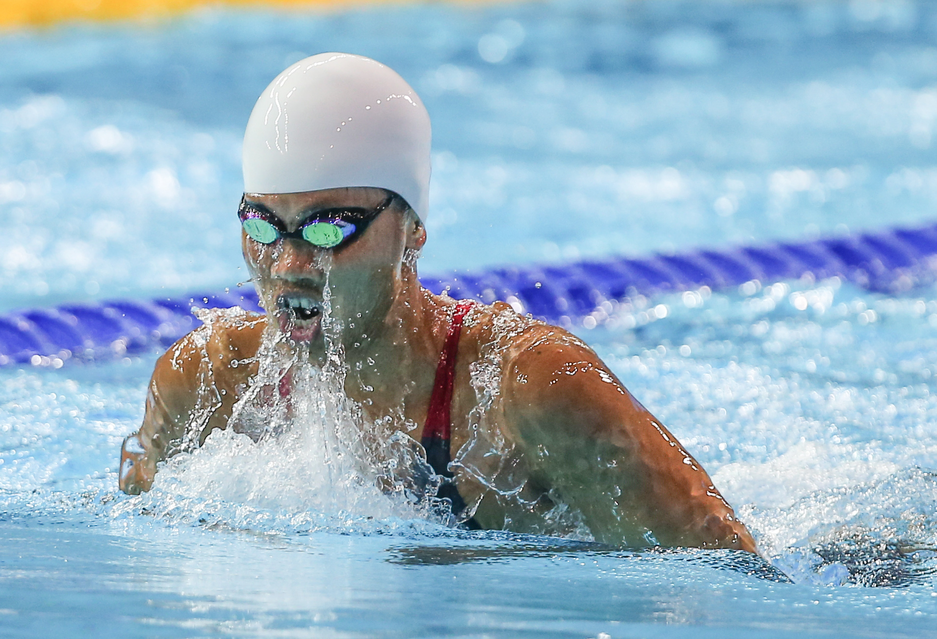 (140817) -- Nanjing,Aug 17,2014 (Xinhua) -- Gold medalist Vien Nguyen Thi Anh of Vietnam competes in the final of Women's 200m Individual Medley of Nanjing 2014 Youth Olympic Games in Nanjing, capital of east China?s Jiangsu Province, on Aug. 17, 2014. (Xinhua/Yang Lei) (txt)