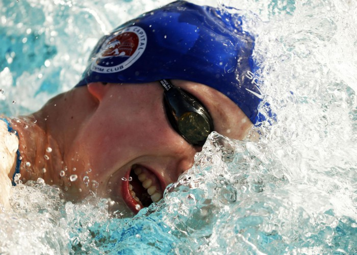 Apr 15, 2015; Mesa, AZ, USA; Katie Ledecky warms up for the Women's 1500 LC meter freestyle prelim during the 2015 Arena Pro Swim Series at the Skyline Aquatic Center. Mandatory Credit: Rob Schumacher/Arizona Republic via USA TODAY Sports