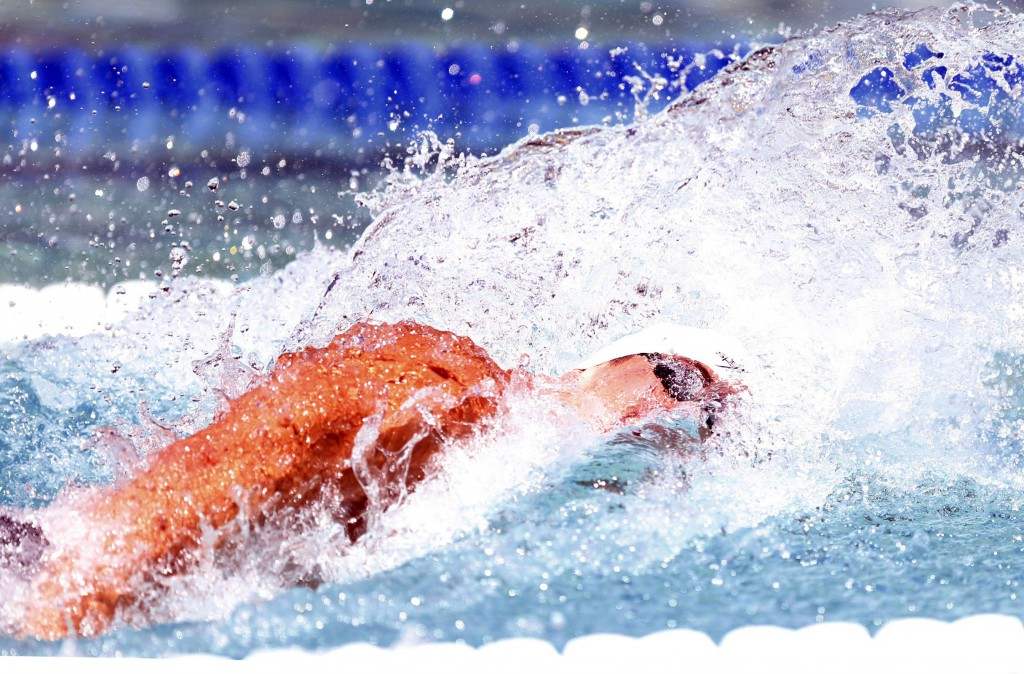 Jun 21, 2015; Santa Clara, CA, USA; Nathan Adrian (USA) was the fastest qualifier in the Men's 100M Freestyle during the morning session of day four at the George F. Haines International Swim Center in Santa Clara, Calif. Mandatory Credit: Bob Stanton-USA TODAY Sports